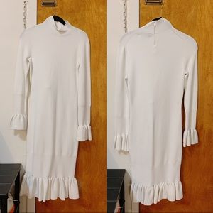 Reid's white midi dress stretch white long sleeve